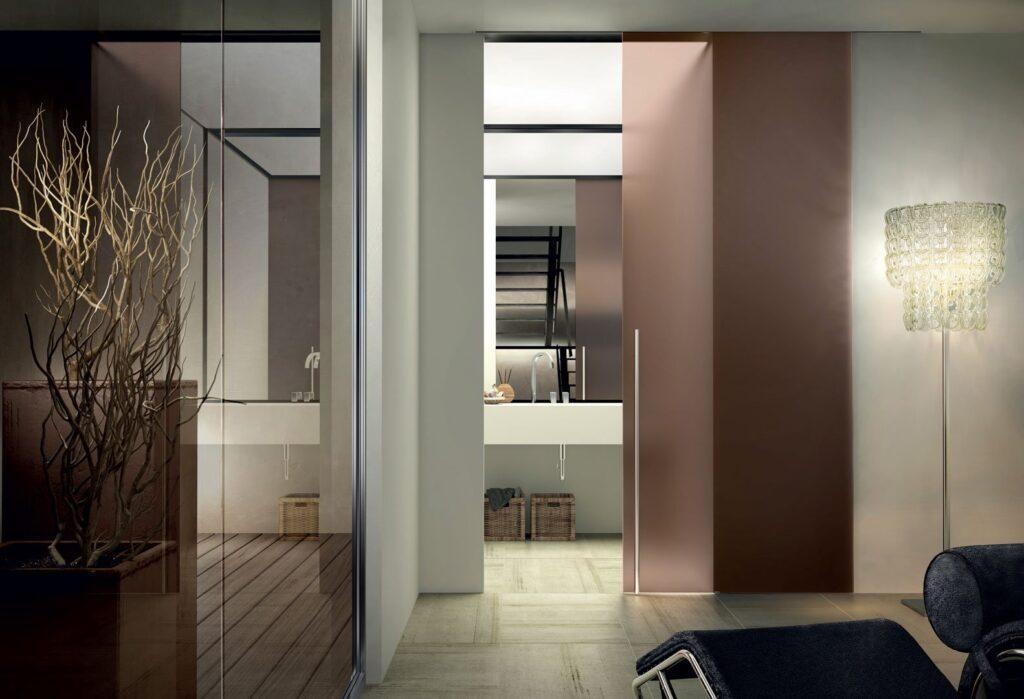 Porte in vetro scorrevoli a battente per interni henry - Porte in vetro per bagno ...