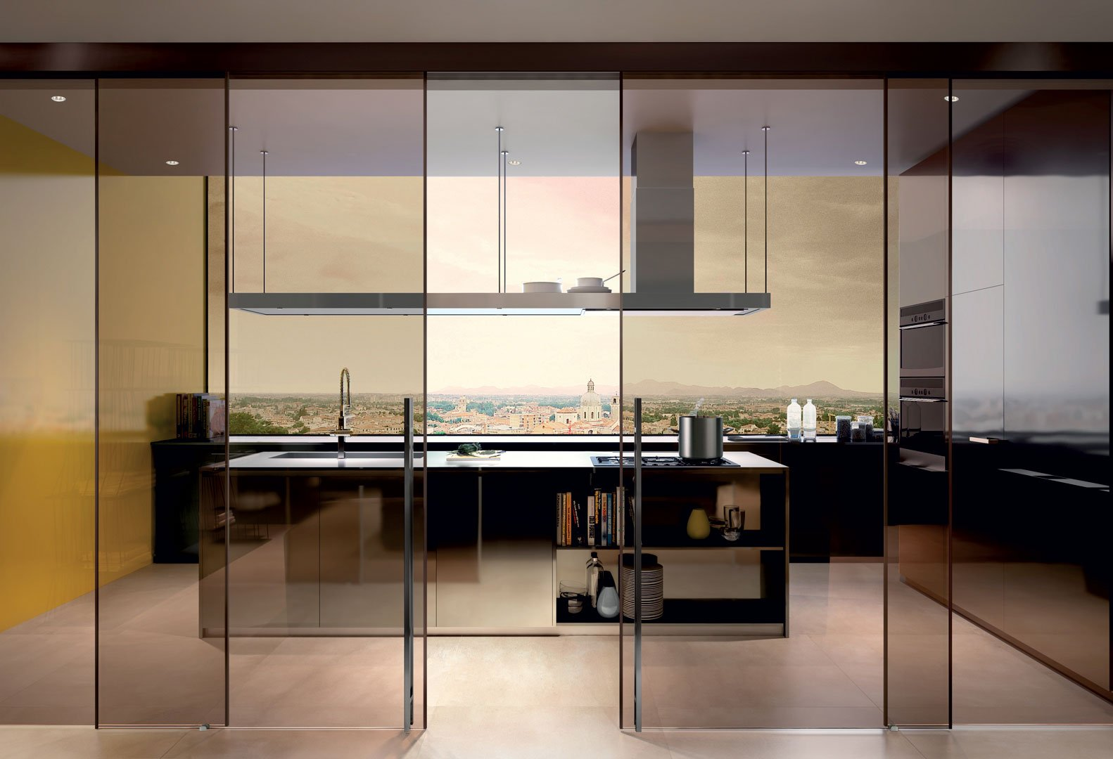Porte vetro Henry Glass - cucina-bronzo - Tecnoinfissi Srl