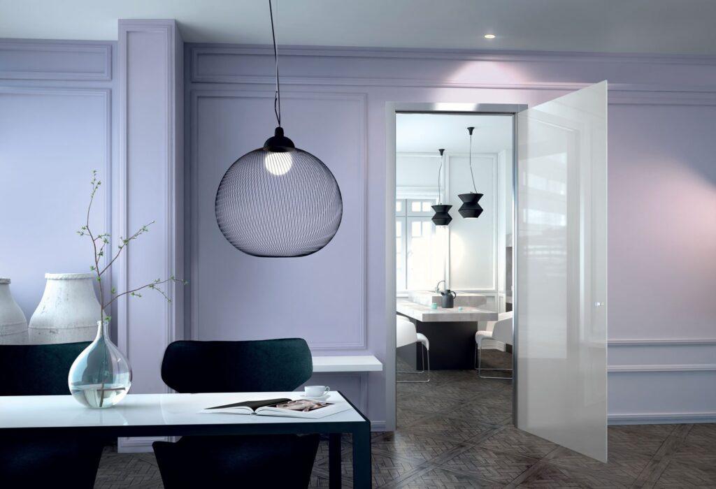 Porte in vetro scorrevoli a battente per interni henry glass - Porte va e vieni per interni ...