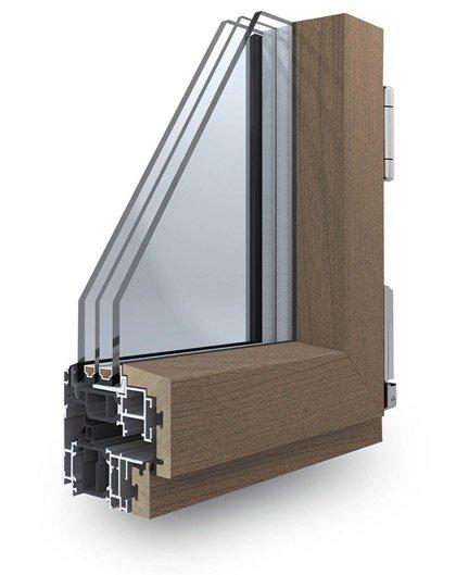 Infissi alluminio legno skywood korus angolo for Finestre faelux